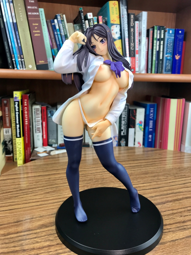 Shinonome Mio frontal with open white shirt and purple bowtie